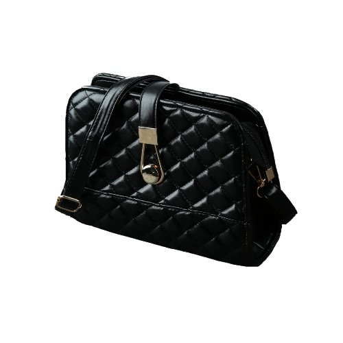 New Women PU Crossbody Bag Quilted Plaid Hasp Zipper Casual Elegant Shoulder Messenger Bags Black/White/Rose