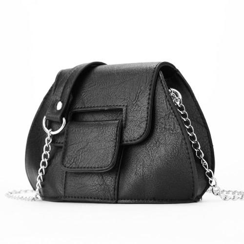 Moda Vintage Women Crossbody Torba Magnetyczna Studzienka Z przodu Klapka PU Leather Chain Shoulder Bag