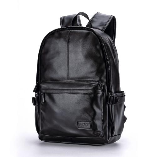Homens Leather Backpack PU Bolsa Escola Laptop Backpack Caminhadas Travel Bag Preto / Brown