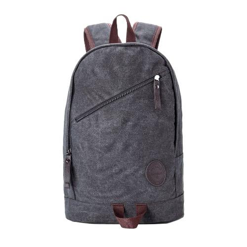 Homens Mochila Canvas Grande Capacidade Multi-Pocketed Zipper alça ajustável Laptop Bag Casual Escola Travel Bag Preto / Khaki