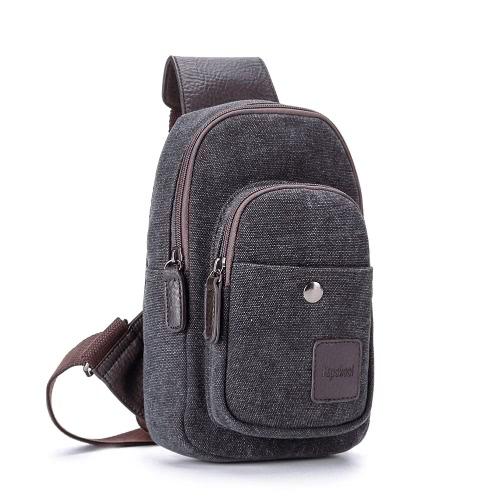 Estilo Zipper nova moda masculina meninos Casual Canvas Crossbody Bag Multi-bolso do exército militar outdoor pequeno saco preto / caqui