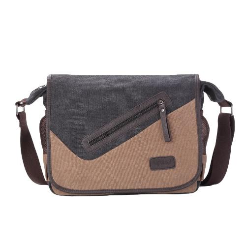 Nowa moda mężczyzna Płótno Crossbody Bag Duża pojemność Multi-Kieszenie Pokrywa strunowe Casual Vintage ramię Torby Czarny / Khaki