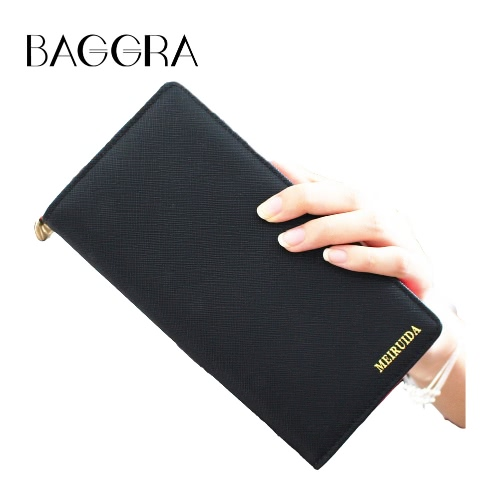New Fashion Women Wallet PU Leather Fold longo design de alta capacidade multifunções Zipper Bolsa Clutch Bag