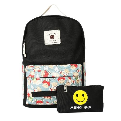Travel Bag casuale delle ragazze delle donne della tela di canapa zaino Set Cartoon Stampa Emoji sacchetto di scuola sveglio del computer portatile