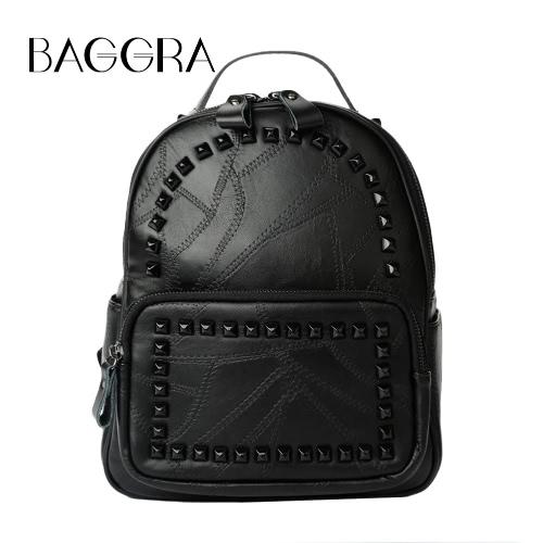 New Coréia Mulheres PU Leather Backpack Rivet Adolescentes formal Mochila Casual Escola saco preto