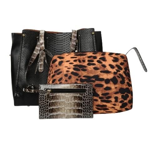 Donne borsa Set Leopard Pelle di serpente del modello del coccodrillo di grande capienza borsa a spalla Totes nero / beige / blu