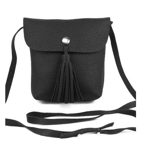 New Moda feminina Shoulder Bag PU Leathe Flap Tassel cor sólida Unlined Imprensa Stud Casual Crossbody Bag