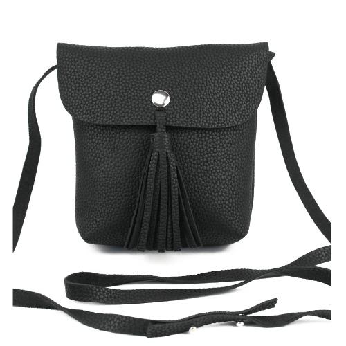 Nowe mody Kobiety Shoulder Bag PU leathe Flap Tassel Jednolity kolor bez podszewki zatrzaskiem przypadkowa torba CROSSBODY