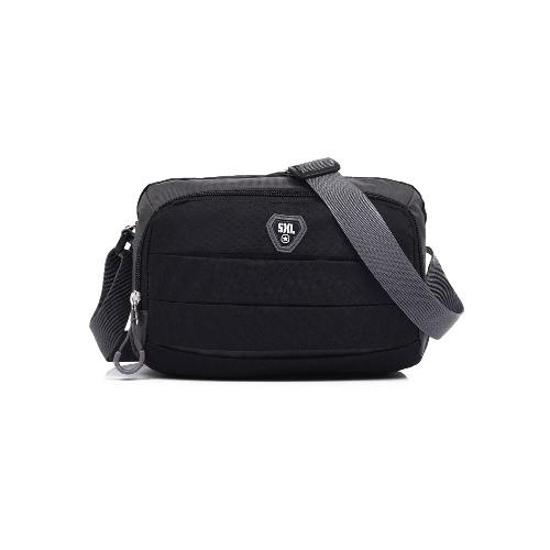 Mulheres Nylon Crossbody Bag Pockets Zipper ajustável Strap Casual Bag Outdoor Viagem Bolsa de Ombro