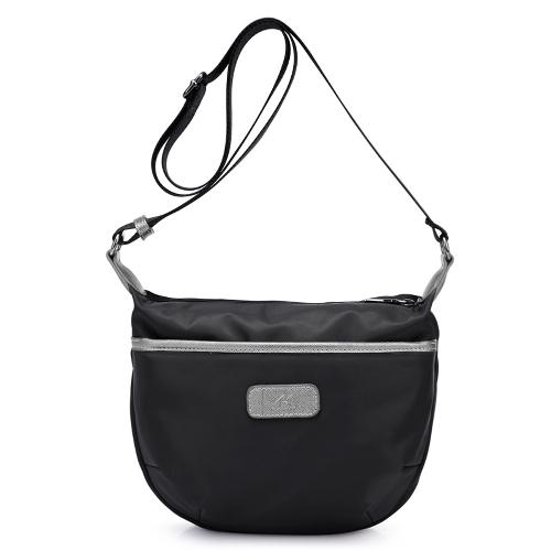 New Women Nylon Crossbody Bag Impermeável Contraste Color Zipper Casual Outdoor Shoulder Bags Preto / Azul / Roxo