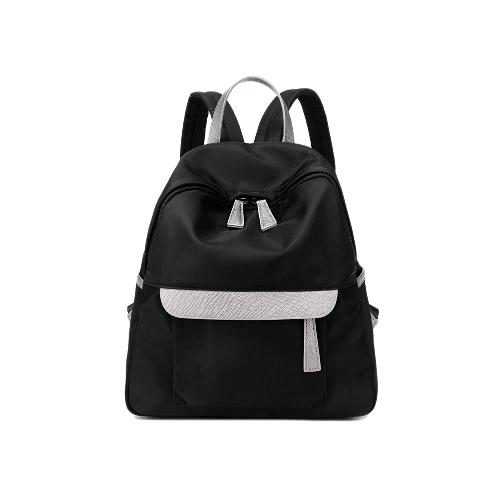 Neue Frauen Kleine Nylon-Rucksack-Leder Reißverschluss beiläufige wasserdichte Schoolbag Reisetasche Schwarz / Dunkelblau / Dunkellila