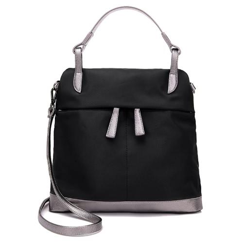 Las nuevas mujeres bolso de nylon impermeable de color de contraste empalme bolsillos de cremallera de gran capacidad ocasional del hombro del bolso de Crossbody