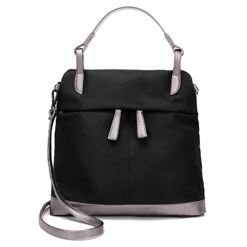 New Women Nylon Handbag Waterproof Contrast Color Splice Pockets Zipper Large Capacity Casual Shoulder Crossbody Bag