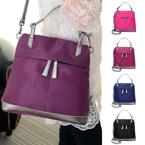 Новый женский нейлон сумка водонепроницаемый контраст Цвет сращивания Карманы Zipper большой емкости случайный плечо мешок Crossbody