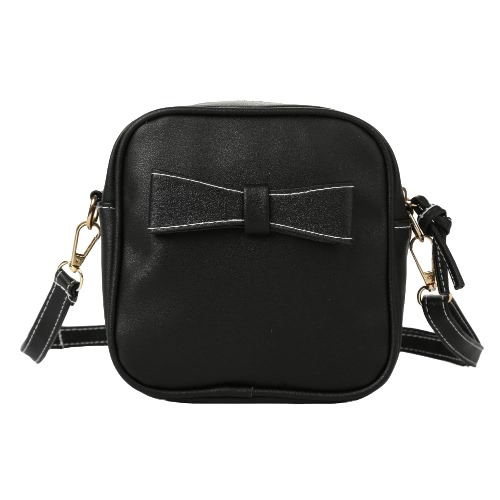 New Fashion Women Mini Crossbody Bags Soft PU Bow Solid Color Casual Small Shoulder Messenger Bag Black/Grey/Beige