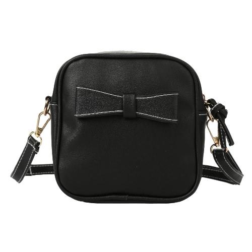 Nowe mody Kobiety Mini Crossbody Torby miękkie PU Bow Jednolity kolor Casual Małe ramię Torba Black / Grey / beż