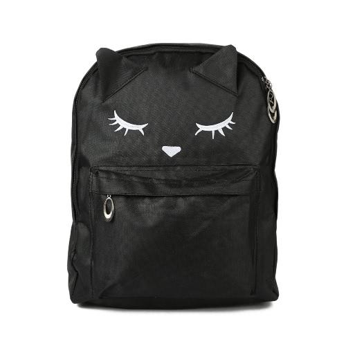 Las mujeres Mochila Cat bordado huella grande de la cremallera de la capacidad de la correa ajustable del ordenador portátil del bolso de escuela informal bolsa de viaje