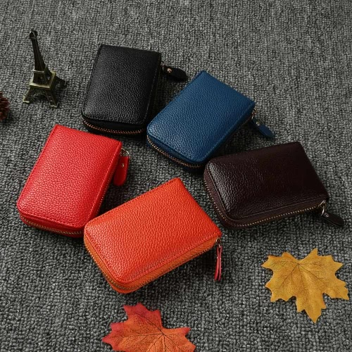 Fashion Women Card ID Holder PU Leather Solid Color Zipper Multiple Slots Business Small Purse Wallet, TOMTOP  - buy with discount