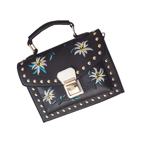 Girls Women Leather Messenger Bag Flower Handbag Ladies Small Crossbody Shoulder Bag Black/White