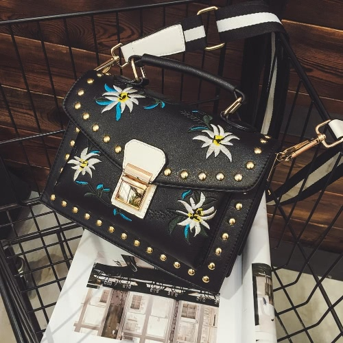 Girls Women Leather Messenger Bag Flower Handbag Ladies Small Crossbody Shoulder Bag Black/White