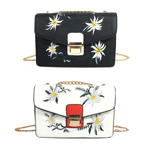 New Women Bag Messenger Bag Chain Shoulder Bag PU Leather Girls Flower Small Crossbody Bag Black/White