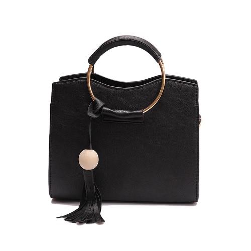 Nowy Kobiety Bag Torba na ramię Torebka PU Leather Pierścień metalowy uchwyt Tassel Tote Bag CROSSBODY czarny / szary / różowy