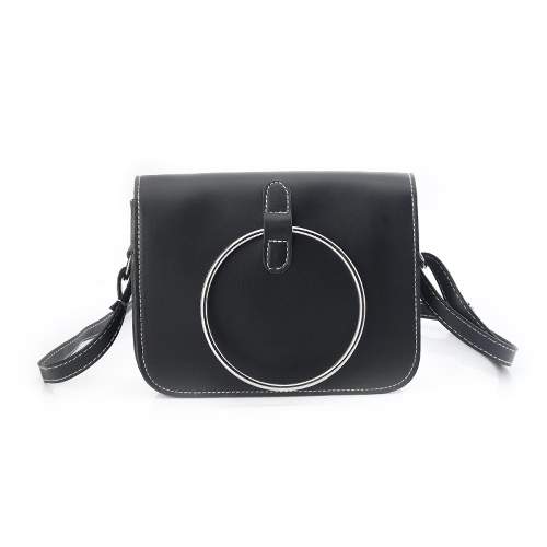 New Vintage Women Crossbody Bag Messenger Bag Metal Ring Shoulder Bag PU Leather Girls Small Bag