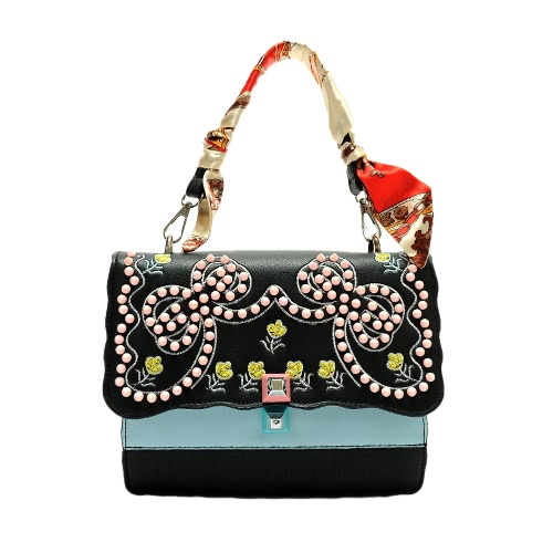Fashion Frauen Stickerei Umhängetasche Tasche Messenger Bag Niet-Schulter-Beutel PU-Leder Tasche Schwarz / Weiß