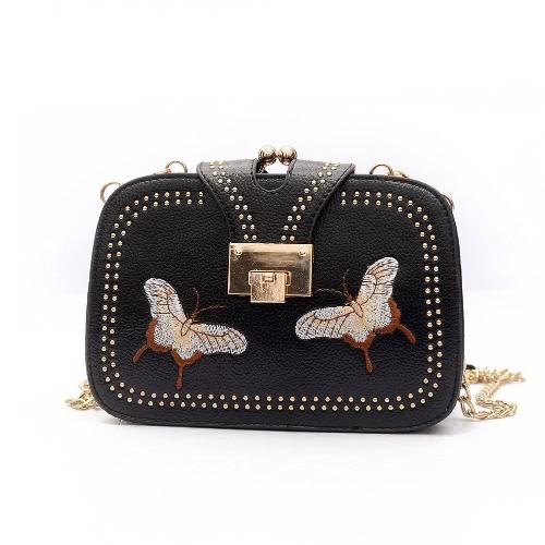 Neue Frauen PU Crossbody Tasche Niet Schmetterling Stickerei Multi-Pockets Vintage Kette Schultertaschen Weiß / Schwarz