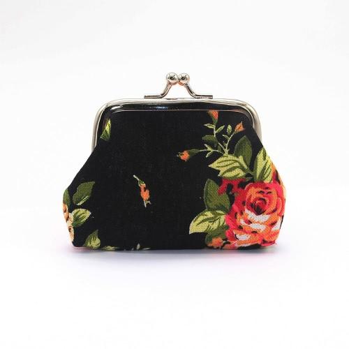 Nuevo bolso de la caja del sostenedor de la moneda del monedero de la lona del cerrojo de la carpeta de la flor del embrague de las nuevas mujeres