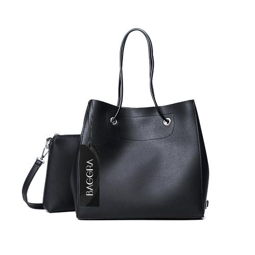 Conjunto de bolso de mujer de cuero de la PU bolso de hombro ocasional del bolso de hombro conjunto compuesto sólido