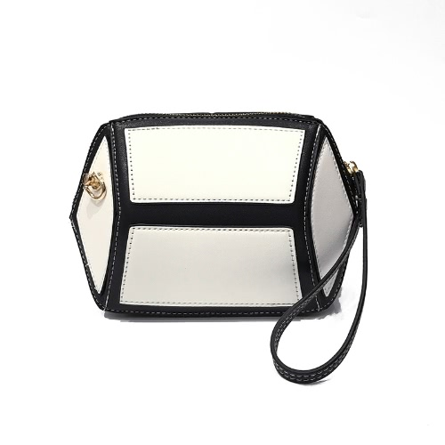 Mujeres Mini Crossbody Bolsa de la cadena de PU de cuero Contraste Splice Zipper Small Messenger Bag