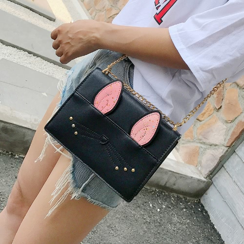 Cute Women Girls Chain Crossbody Bags PU Leather Cat Rabbit Mini Small Shoulder Bag Handbag Beige/Black