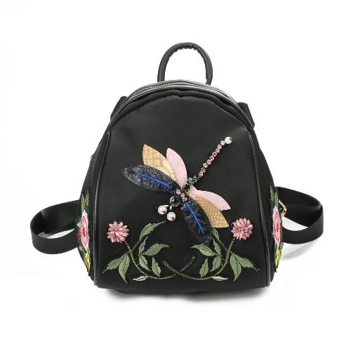 Frauen Nylon Rucksack Libelle Muster Stickerei Blumen Applique Multipurpose Umhängetaschen Mochila Schultasche Schwarz
