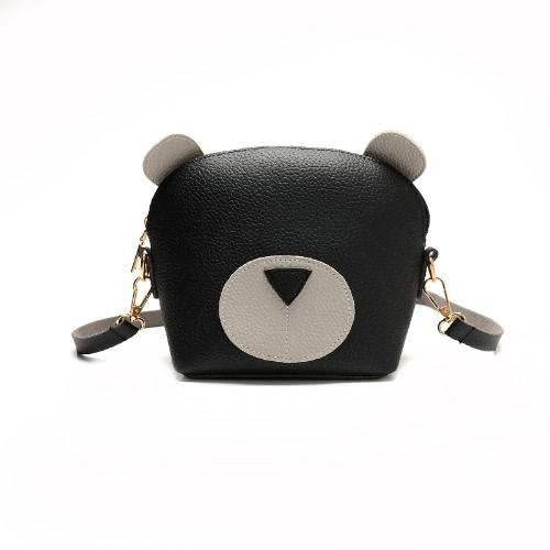 Mujeres Mini Crossbody Bolso PU Cuero Cute Cara Zipper Contraste Pequeño Messenger Bag