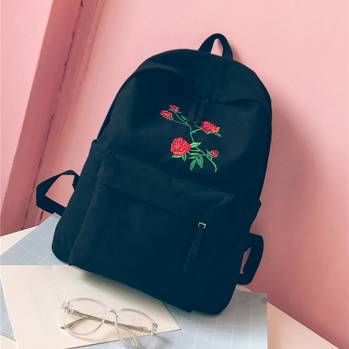 Mulheres Mochila Floral Rose Embroidery Zipper Alta Capacidade Multifuncional Teenagers Schoolbag Knapsack
