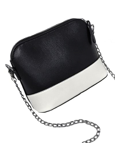 New Women PU Crossbody Chain Bag Contraste Splice Zipper Casual Vintage Small Shoulder Bags