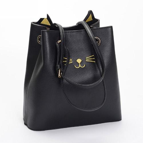Fashion Women Large Capacity PU Shoulder Bag Cute Cat Pattern Handbag Messenger Crossbody Tote Bucket Bag Black/Silver