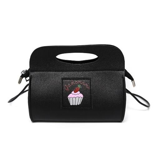 Симпатичные женщины плеча сумка PU кожаный торт печати шаблон случайные небольшие партии Tote сумочку черный / белый