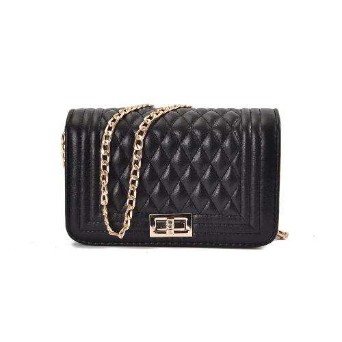 Klassische Frauen Schultertasche Weibliche Vintage Mini Flap Tasche Kleine Kette Gesteppte Handtasche Messenger Crossbody Tasche Rosa / Schwarz / Beige