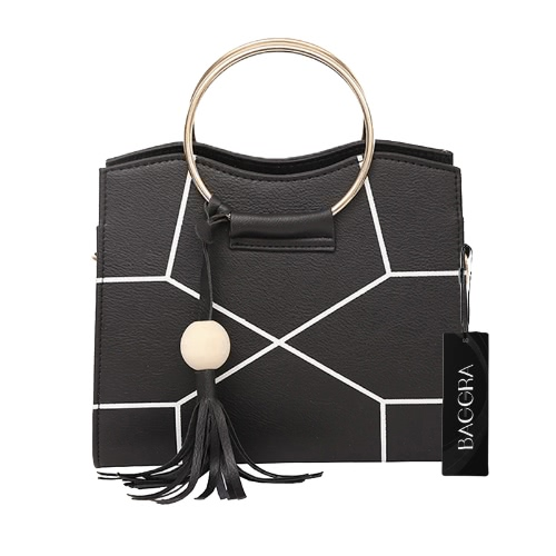 Women Crossbody Bag PU Leather Contraste Geometric Impresso Metal Ring Tassels Elegant Shoulder Bag