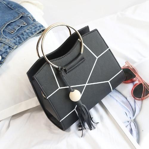 Women Crossbody Bag PU Leather Contrast Geometric Printed Metal Ring Tassels Elegant Shoulder Bag