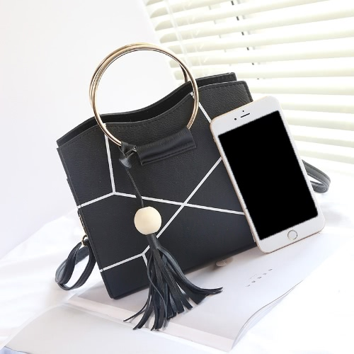 Women Crossbody Bag PU Leather Contrast Geometric Printed Metal Ring Tassels Elegant Shoulder Bag