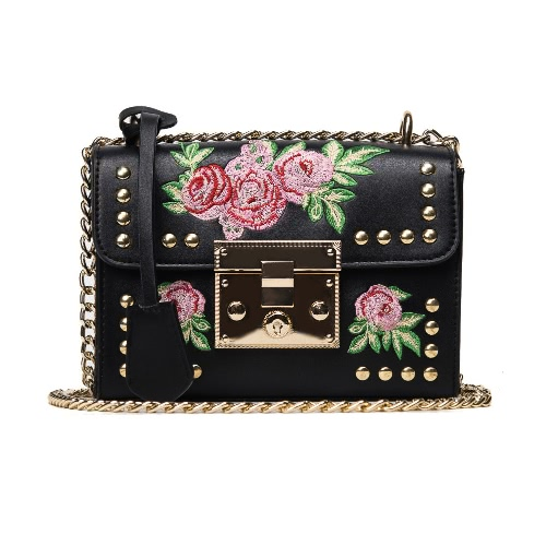 Mulheres Floral Bordado Shoulder Bag Cadeia Rebites PU Leather Flap Front Casual Mini Crossbody Bag