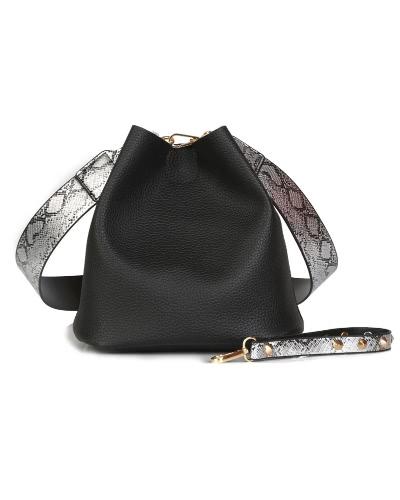 Borsa a tracolla con borchie a croce in pelle a due pezzi da donna a due pezzi