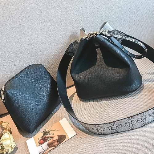 Frauen Mädchen PU Crossbody Tasche Zwei-Stück Kontrast Splice Reißverschluss Casual Schultertaschen Clutch Bag