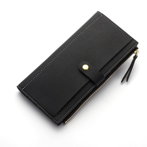 Bolsa feminina de moda PU Leather Casual Carteira comprida Carteira de cartão de telefone Zipper Cash Money Clutch Bag