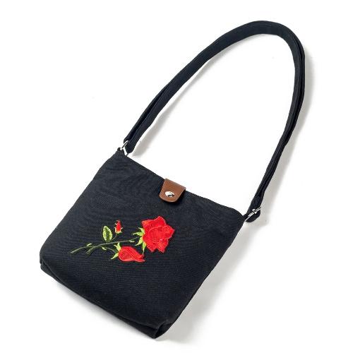 Mulheres Vintage Bolsa Bordada Flor Canvas Crossbody Bolsa Rosa Messenger Bag Saco de ombro étnico Casual