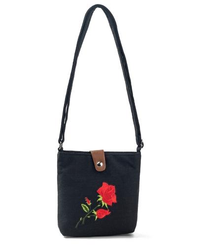 Vintage Women Embroidered Flower Canvas Crossbody Bag Rose Messenger Bag Ethnic Casual Shoulder Bag