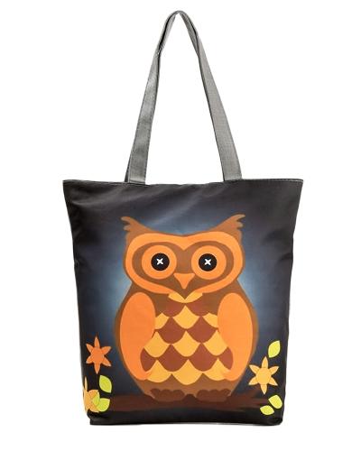 Women Shopping Shoulder Bag Totes Owls Print Zipper Pocket Large Capacity Tote Handbag